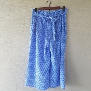 The Limited Blue High Waist Palazzo Capri Pants